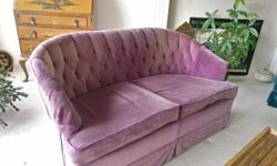 Free purple velvet diamond tufted love seat. Well made in Montreal, over 40 years old, my nana is getting a new couch.