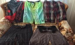 "The Hurley (green plaid) size 30"", $5, Burgundy plaid 30"" W. $3 Grey plaid shorts, $3 each, both size 32"" W Adidas, red, black grey, 15-16 (XL Youth) $3 Single short photo, Size 32, $5"