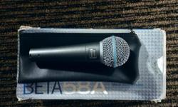 A high-output vocal microphone, the BETA 58A® features a shaped frequency response ideal for close-up vocals. Comes with box, clip, and pouch. In great shape - currently $219 plus tax at L&M. $175 obo no trades