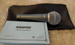 Selling my Shure Beta 58a dynamic mic. It has been used VERY little in the year since purchase, mostly just sat in its carrying case in storage. It is in pristine condition. Priced low at $150 because I no longer have the mic clip for it, must have been