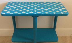 Retro side table for sale 26 long by 22 inches high table has been repurposed with paint from the Annie Sloan collection and wax sealed.