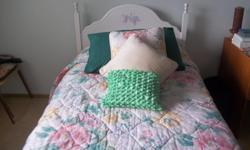 THIS BED IS IN NEW CONDITION ONLY USED AS A GUEST BED. COMES WITH BEDSPREAD, MATCHING CUSHION & CURTAIN VALANCE.