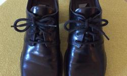 SIZE 36 ( LADIES SIZE 6 ) ECCO SHOES - MADE IN BRAZIL, 2 INCH STACKED CHUNKY HEELS, NEARLY BRAND NEW, NO WEAR AT ALL ON THE BLACK LEATHER OR THE HEELS, IN PRISTINE CLEAN CONDITION.