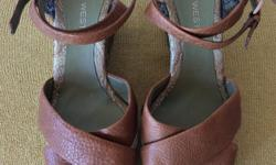 SIZE 7M LADIES NINE WEST SHOES - 4 INCH PLATFORM WEDGE SANDALS, PAISLEY AND SPARKLES ABOUND HERE!!, VERY GENTLY WORN, A BIT OF PEELING ON THE INNER STRAP ONLY WHERE IT MEETS THE SHOE BASE BUT THE SUEDE UNDERNEATH IS STILL STRONG, IN PRISTINE CLEAN