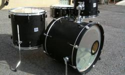 Hey everybody, I have for sale a shell pack of black veneer Yamaha Stage Custom Advantage Nouveau drums with a SJC Custom Drums solid nickel snare drum. The sizes are 22x17, 16x16, 12x8, and 14x6. This sale includes all 4 drums, 3 floor-tom legs, and a