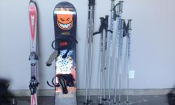 We have boots size 10 men's, ladies size 8, snow board boots size 8 men's. Snow board, ski's and ski poles.$40, $30, $25, $20, Boots Board $75, Ski's $50 OBO