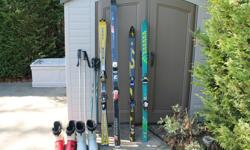 Four sets of skis. One set is parabolic. Elan, K2, Blizzard and Salomon. Hardly used. All come with fitted bindings. Will require tuning. 2 sets of ski boots - Size 11 Two poles. $150 for everything, or: $50 each ski set. $5.00 for each pole set $15.00