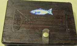 SMALL HAND MADE FISHING TACKLE BOX . CONTACT PHONE