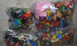 """Small Mixed Toys. I have 6 lots with 1 lot of 17 to 51 toys from $5.00 to $10.00 a lot. Mostly in freezer bags. In very good condition. ITS A HOUSE NUMBER SO DO NOT TEXT. """"""""DO NOT"""""""" CALL BEFORE 8 am. OR AFTER 9:00 pm. CASH ONLY. PICKUP ONLY VIEW MAP for"""