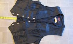 "Small Woman's leather vest Golden Crown by Bristol Model 2723 size 14 (fits small - more like 8 or 10) Made in Canada Nylon lining Belt & buckle on back to make it more fitting Great shape, nice stitching Approx. 19"" long call or email"