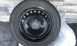 """Don't wait for snow do it now and save the tax!! Four gently used black steel rims 16"""" will fit 55R16 tires. Rims come with TPMS Sensors. Snow tires currently on rim must be replaced."""