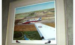 """""""Snowbirds"""" 431 Air Demonstration Squadron, by Moose Jaw artist Yvette Moore, professionally framed in her gallery. Signed copy 90 of 1992 - Frame measures 30"""" x 27"""""""