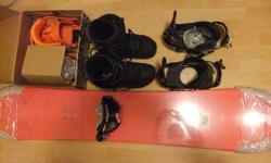 PRICE REDUCED TO $300 BEFORE IT GOES INTO STORAGE UNTIL NEXT WINTER!! Sold as a bundle: - K2 Happy Hour snowboard (New In Box) L=157cm W=25.10cm - Raiden Zero Bindings (New In Box) Large - Ride FX Bindings (Lightly Used) Large - Gordini Sure Shot II
