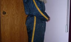 Unisex Snowmobile Suit Down filled Upper Body Fur Trimmed Hood Will fit 5ft 8in Height