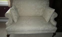 Sofa - 2 seater, cream color with pattern, 2 pillows included. Excellent condition! Call 705-522-3167