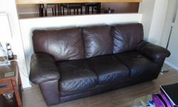 "Relisted due to no show. Bonded leather, chocolate brown. No tears but some surface scratches on cushions. 81"" wide. You take it away. Must be gone ASAP."