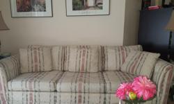"Fabric three seat sofa measuring 86"" w. x 33"" d"