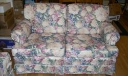 JUST LIKE NEW- SOFA AND LOVE SEAT CREAM WITH GREEN, ROSE, AND BLUE  FLORAL PATTERN MATCHING VALANCES ALSO AVAILABLE PLEACE CALL 705-741-1065 OR EMAIL