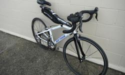 Classic Softride bike with carbon fork and 650X23 wheels. Has Ultegra carbon shifters, 105 rear derailleur, 105 brakes, Ritchey bar and clipless pedals.