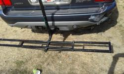 THIS BLACK CAST IRON DIRT BIKE HOLDER,IS SOLD ,AND MADE TO TAKE THE WHEIGHT OF THE HEVEST DIRT BIKE,WILL FIT MALLER HITCH,AND BIGER HITCH WITH ADAPTER,PLEASE PHONE 250-741-7777 ( NANAIMO ) ( GREAT XMAS GIFT FOR THE DIRT BIKER )