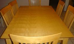 I have 6 seater table for sale.  SOLID Maple length 60 inches x width 36 inches x height 30 inches. Paid for $899 + tax but I am offering it for a fraction of the price.  Used but in excellent condition.  Covered seats to protect from spillage or dirt but