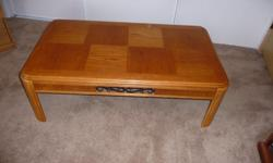 """solid oak coffee table in nice condition, 48 X 27 X 16"""" high ... $40.00"""