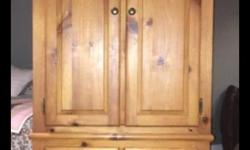 """Selling a Solid Pine 2-piece Cabinet by House of Brougham Dimensions are 71 1/2"""" tall by 20 1/2"""" wide and 30"""" at narrowest, 35"""" at widest"""