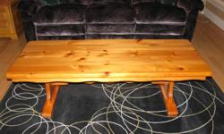 "Hand made solid pine light wood coffee table. 54""L x 22""W x 17"" Tall. Moving, $100.00 OBO."
