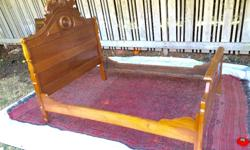 """Renaissance revival style wooden antique full/ double bed 52"""" x 74"""" . Just drop in box spring and mattress . Or slats and mattress ( not included)"""