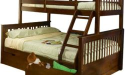 Solid Wood Bunkbed!  no MDF!  Three Styles to choose from Single on Single bunk bed available in espresso, or Natural ($600) with underbed drawers ($800)  Single on Double bunkbeds available in espresso, Natural or White ($650) with underbed drawers
