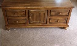Coffee Table has drawers and cupboard on both sides ,End Table has 3 drawers. both in excellent condition .will sell together or separate.