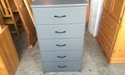 this is a very nice dresser made from solid wood. its the original grey paint and the black metal handles. the drawers all slide like new. I can deliver. 250 208 3174 24 x 16 x 47 high
