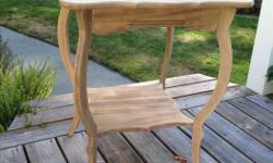 "Solid wood side table - stripped and ready for paint or staining. Excellent condition. 28"" H x 23""W x 23""D"
