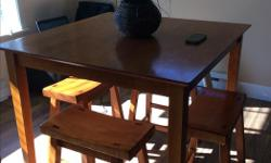 Very sturdy square table set . Asking $120 OBO for the five pieces.