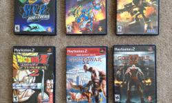 Gently used PlayStation 2 with blue controller in good condition. Console comes with 2 memory cards (8 MB & 64 MB), with all necessary cables and includes 6 games: -Sly 2 Band of Thieves -Sly 3 Honor Among Thieves -God of War -God of War II (2 disc set)