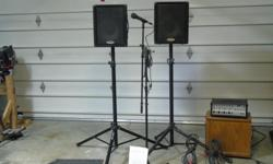 Punch amp ,speakers and speaker stands, mic and mic stand,cables