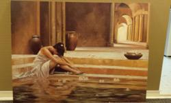 This is a painting meant for spa that was bought at a claim sale years ago, as the frame had been damaged. A very serene and tasteful touch to any room. It is in good condition and has one mark at the bottom from the hanging clip, which could be filled in