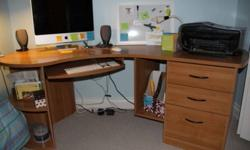 Great desk, three drawers, pull-out keyboard drawer. As you can tell from the picture, it is not square. Thus, its width (76 inches, measured diagonally) may not truly reflect how it fits into a room. I can take it apart after seeing it, but i can not