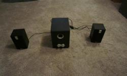 2 Speakers with sub-woofer with all the required wires. Excellent as speakers on a computer