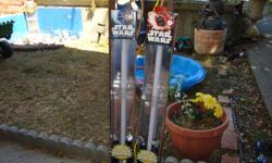 We have 2, this one is Anakin Skywalker's Ultimate FX Light Saber. It powers up and down for light effect, bright glowing blue blade. Battle clashing lights and sounds power activated Humming sound, motion sensor-controlled sound effects. The second on is