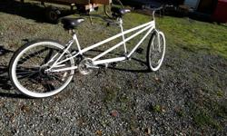 I bought a basic Tandem Bike to see if me and the Mrs. liked riding tandem, which we do now. Selling this as we are buying a fancier Tandem bike now. 18 Gears, strap in pedals on the rear, and a nice style. Suitable for a pilot 6'0 or under, and a rear