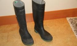 Steel toe rubber boots, size 11
