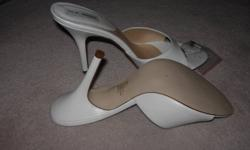 Very Sexy, white sandals. New, never worn, size 11, comes with extra heel clips.