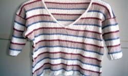 "Strip V-Neck Short Sleeve Knit Top - size M/L, shoulder: 20"", bust: 40-46"", length: 16-1/2"", sleeve length: 8"" - in good condition - $2 firm"