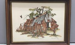 """Stuart Oldale Hand Colored Etching """"Near Bakerville, BC"""" Limited Edition Print 193/250. It has a solid wood frame and under glass in excellent condition."""