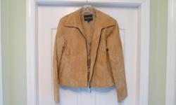 Size M....Tan suede leather jacket....never worn...call 604 491 8828