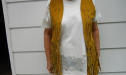 5 Suede Vests from Alcapulco, Mexico. 2 Large, 2 Med., 1 Small. Bought them in Mexico in 1968. 1 Large & 1 Small Summer Weaved Beach bag from Mexico. $35.00 & $25.00