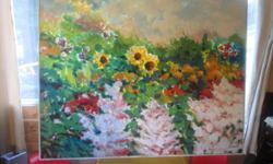 hans herold local artist 4x5 sunflowers original painted in 2003