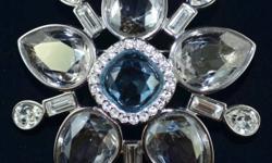 "Swarovski Milly Flower Brooch Bezel Set Aqua and Clear Crystals Popular, beautiful design, Rhodium Plated .  Brooch Measures 5 cm across (2"")"