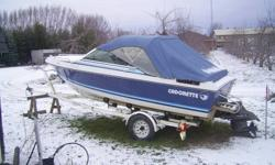 1992 17' Cadorette Fishing / FUN Boat Has only **** 350 hrs..*** This Boat Was used as runabout. It has a 3.0 inboard with Brand New Coupler It has a cobra out drive With Power Trim.Walk through front window. BRAND NEW CARPET AND SEATS 2- Brand new scotty